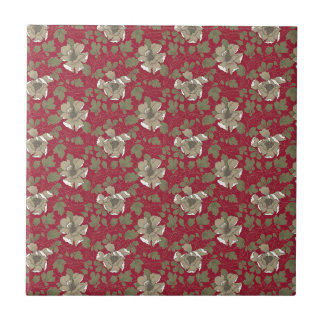 Retro Red Floral Tile