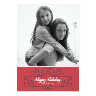 "Retro Red Florish Holiday Photo Card 5"" X 7"" Invitation Card"
