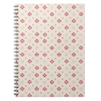 Retro Red Flower Gold Star Vintage Wallpaper Notebook