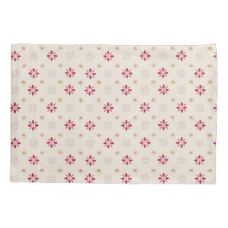 Retro Red Flower Gold Star Vintage Wallpaper Pillowcase