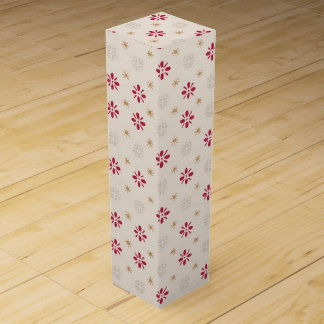Retro Red Flower Gold Star Vintage Wallpaper Wine Gift Box