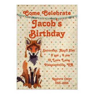 "Retro Red Fox Birthday Invitation 5"" X 7"" Invitation Card"
