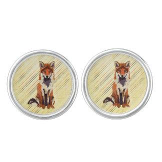 Retro Red Fox  Cuff Links Cufflinks