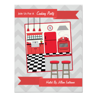Retro Red Kitchen Cooking Party Invite