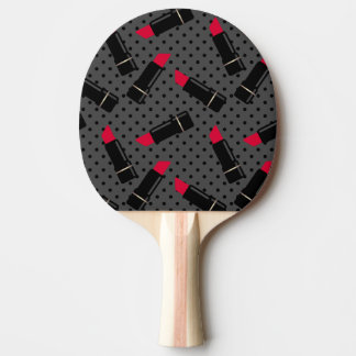 Retro, red lipstick ping pong paddle