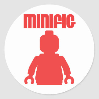 Retro Red Minifig by Customize My Minifig Round Sticker