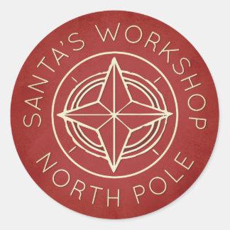 Retro red North Pole workshop Christmas sticker