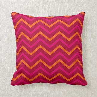 Retro Red Orange Hot Pink Chevron Zig Zag Pattern Cushion