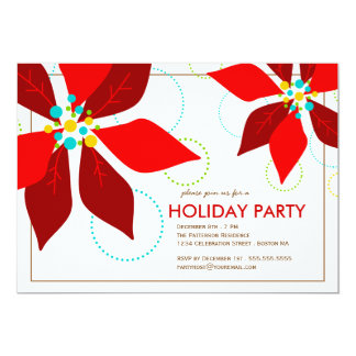 Retro Red Poinsettia Christmas Holiday Party Card