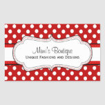 Retro Red polka dot business rectangular stickers
