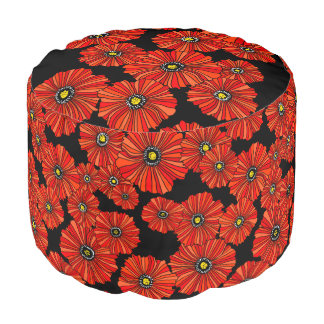 Retro red poppies pouf seating