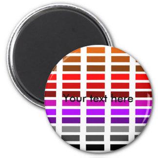 Retro red purple black orange dashes 6 cm round magnet
