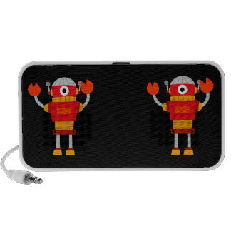 Retro Red Robot Notebook Speakers