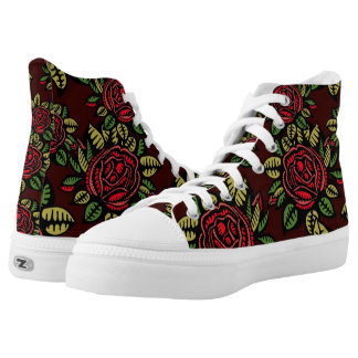 retro red roses high tops shoes printed shoes