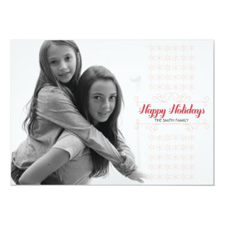 Retro Red Snowflake Band Holiday Card 13 Cm X 18 Cm Invitation Card