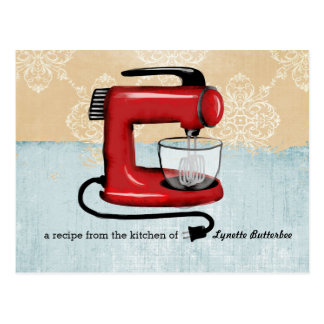 Retro red stand mixer recipe cards postcard