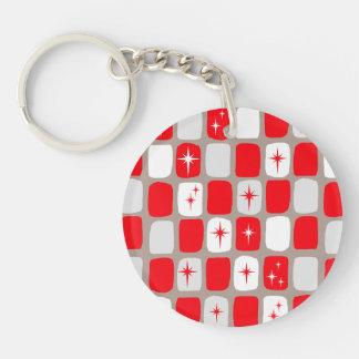 Retro Red Starbursts Acrylic Keychain
