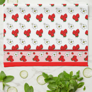 Retro Red Strawberry Patten Kitchen Towel