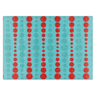 Retro Red & Turquoise Dots Cutting Board