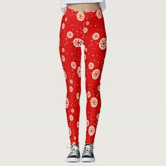 Retro Red & White Snowflake Holiday Print Leggings