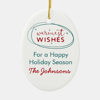 Retro Red White Teal Warmest Wishes Photo Name Ceramic Ornament