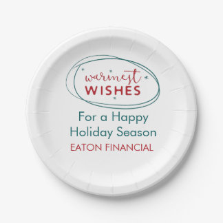 Retro Red White Teal Warmest Wishes Script Name Paper Plate
