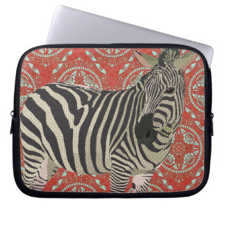 Retro Red Zebra Computer Sleeve