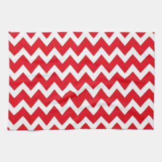 Retro RED Zig Zag Pattern Hand Towel
