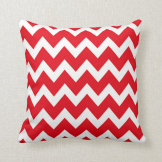 Retro RED Zig Zag Pattern Throw Pillow