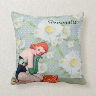 "Retro Redhead Pin-up Girl Throw Pillow 16"" x 16"""