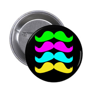 Retro RGB Fluo Moustaches Pinback Buttons