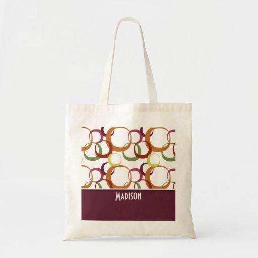 Retro Rings Pattern; Burgandy Bags