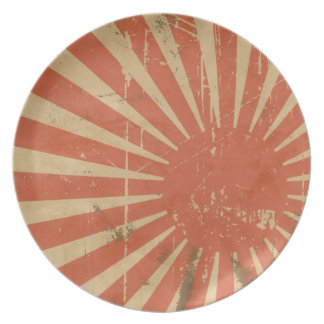 Retro Rising Sun Japanese Flag Plate