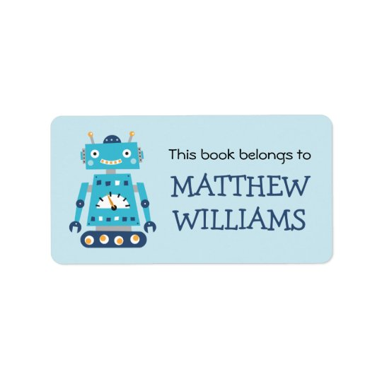 Retro robot bookplate book label address label