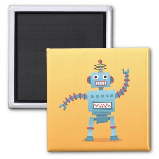 Retro robot cartoon fridge or locker magnet
