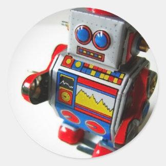 Retro Robot Classic Round Sticker