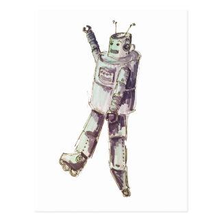 retro robot postcard
