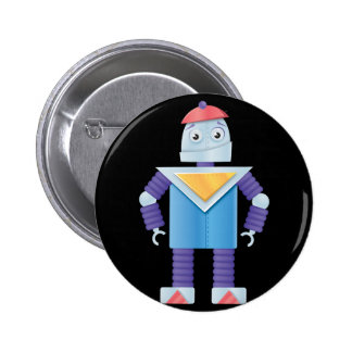 Retro Robots 6 Cm Round Badge