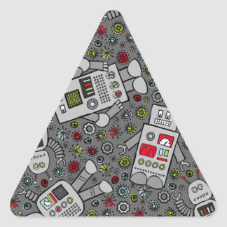 Retro Robots Triangle Sticker