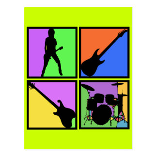 RETRO ROCK SQUARES POSTCARD