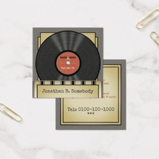 Retro Rock Vinyl Record Square Business Card