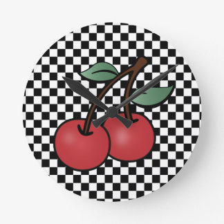 RETRO ROCKABILLY CHERRY WALL CLOCK AND CHECKERS