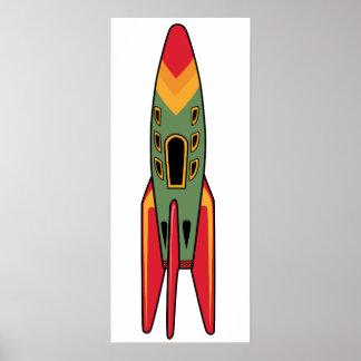 Retro Rocket - Color Poster