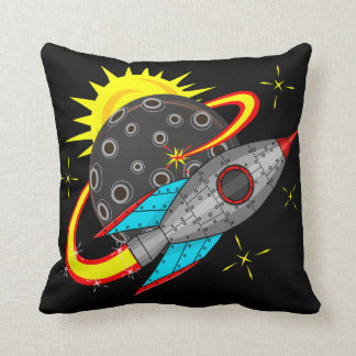 Retro Rocket in Space Cushion