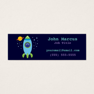 Retro Rocket Mini Business Card
