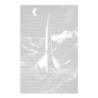 Retro Rocket on Barren Planet Stationery