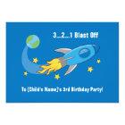 Retro Rocket Ship Birthday Invitation 5x7