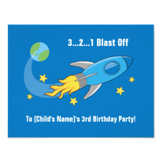 Retro Rocket Ship Birthday Invite