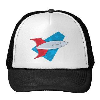 Retro Rocket Ship Trucker Hats