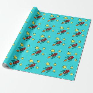 retro rocket ship matte wrapping paper